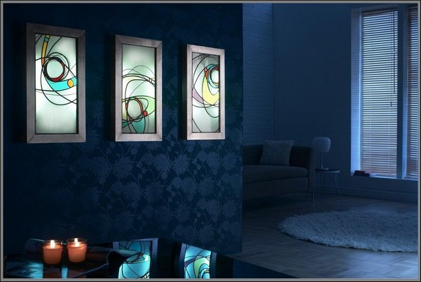 Contemporary stained glass commission modern stained glass light boxes