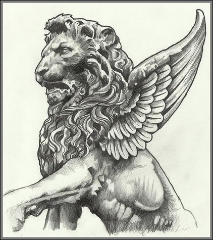 Winged Lion Stained Glass Cartoon