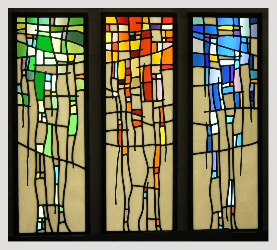 contemporary stained glass tryptych stained glass