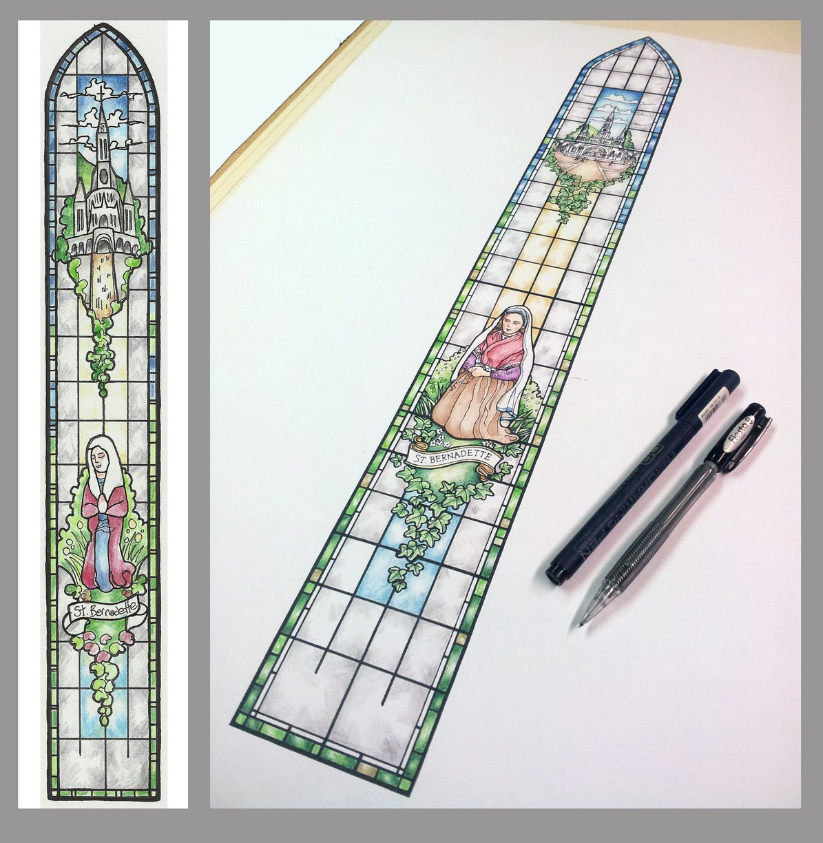 New church stained glass design s st bernadette for New window patterns